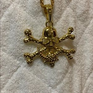 Gold pirate themed necklace